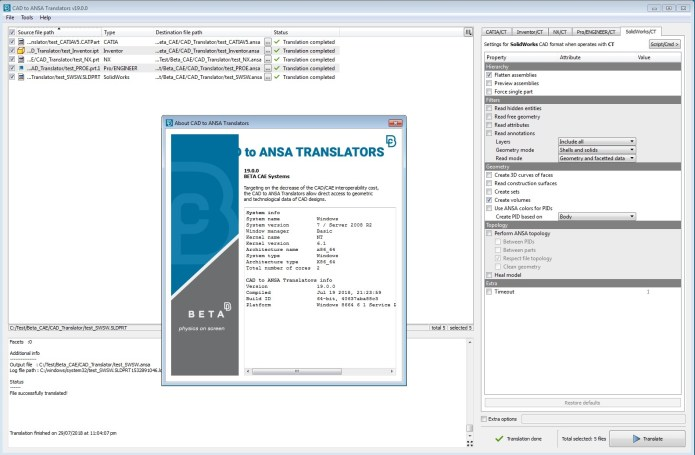 Working with BETA CAE CAD Translator v19.0 full license