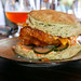 Chicken & Biscuits, Nori biscuit, sriracha aioli, tempura fried chicken $17