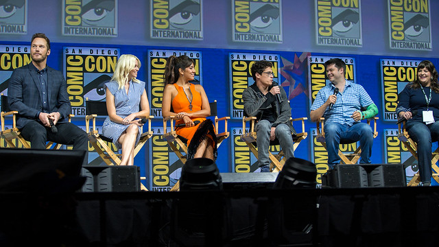 Chris Pratt, Elizabeth Banks, Stephanie Beatriz, Phil Lord, Chris Miller and Trisha Gum