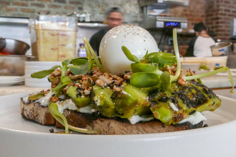 Charred Avocado Toast, Whipped Ricotta, Sprouts, Toasted Seeds $12 [add six-minute egg +$3]