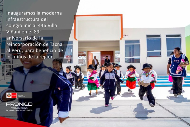 Inauguración del colegio inicial 446 Villa Viñani en Tacna