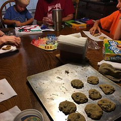Hurricane party complete with family, board games and homemade chocolate chip cookies #familyfarm #hurricaneflorence