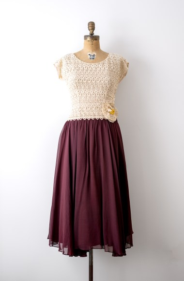 1940's Lace and Burgundy Chiffon Dress by Heirloomen