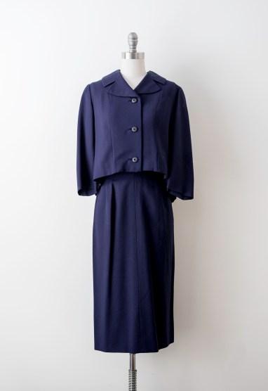 Vintage 1950's Navy Blue Rayon Suit Set