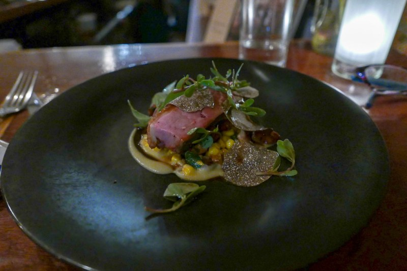 Duck, corn, tomato, pickled chilies 22