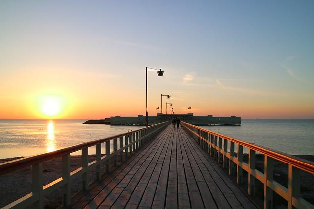 Ribersborg Kallbadhus bij zonsondergang