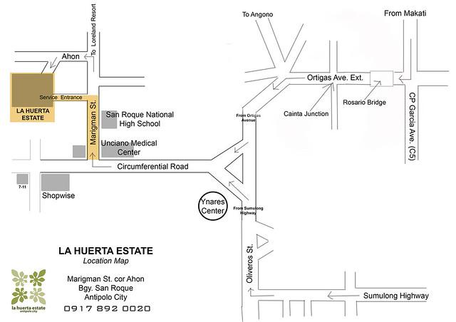Map to La Huerta Estate