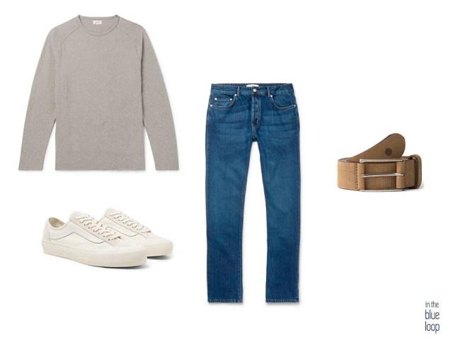 Look masculino con jeans o vaqueros, camiseta, cinturón masculino Anaga y sneakers blancas
