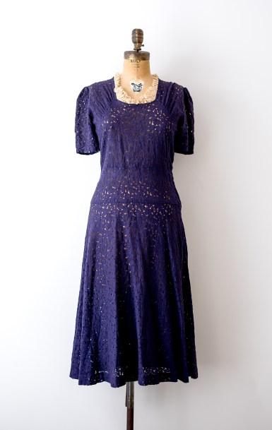1930's Vintage Blue Lace Dresss