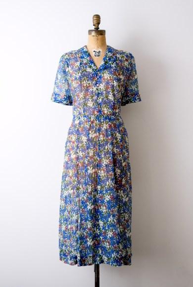 Vintage 1940's floral blue sheer dress by Heirloomen