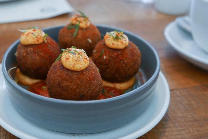 Salumi Sauce Aranchini, Sicilian Rice Balls, pomodoro, manchego, pimenton aioli $8