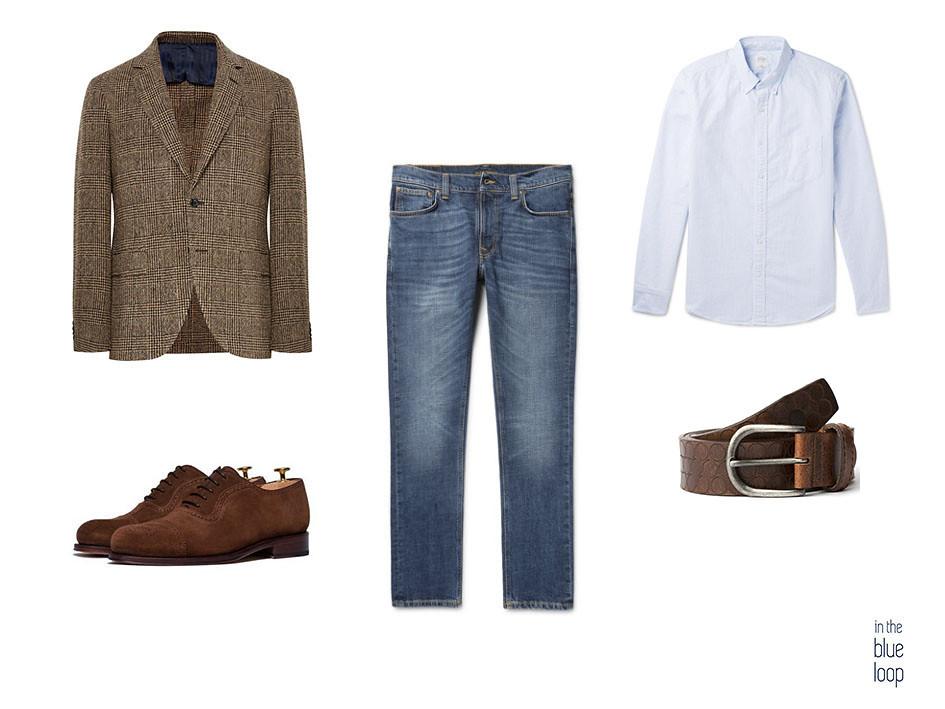 Look masculino con blazer de tweed, jeans o vaqueros, zapatos oxford de ante marrón, cinturón cuero marrón Nublo y camisa azul