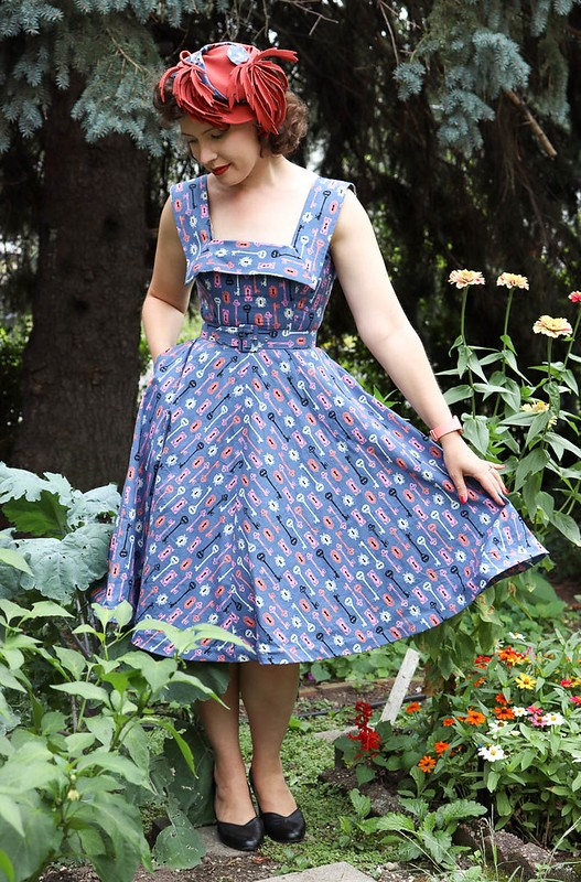 Gertie's Night and Day dress in key print cotton