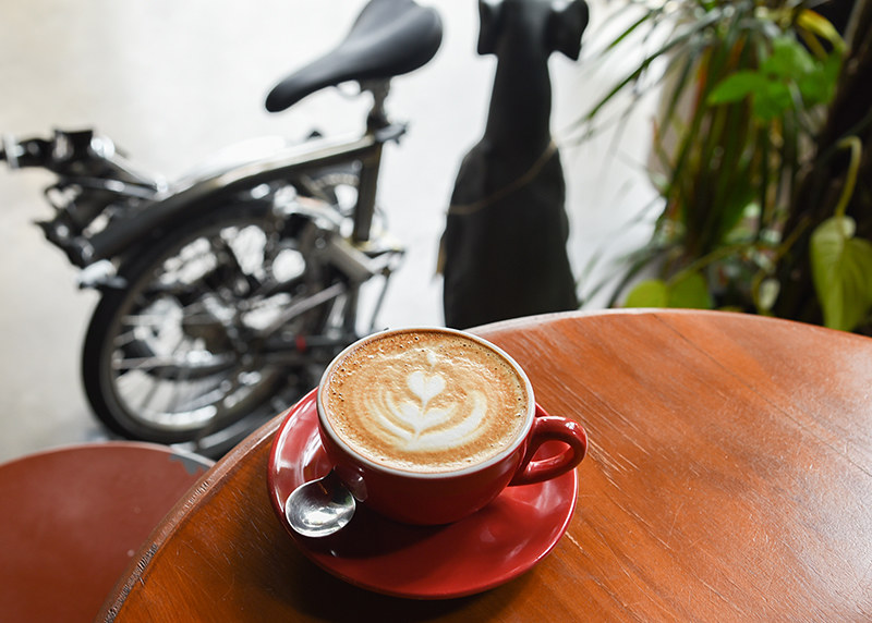 brompton bike in a cafe