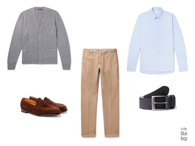 Look smart-casual con chinos, cinturón azul ligara de Blue Hole,camisa azul, mocasines de ante y cardigan