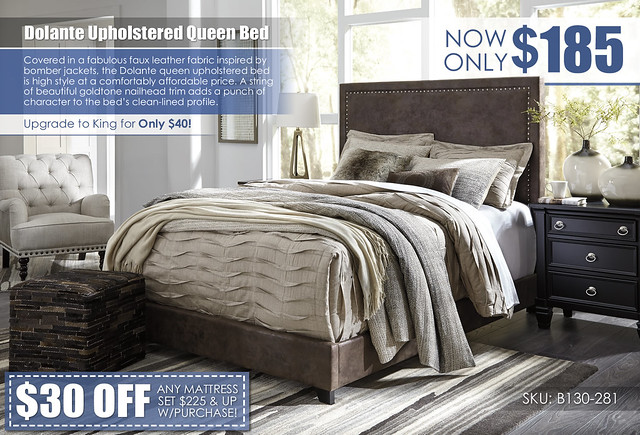 Dolante Nailhead Trim Queen Upholstered Bed_B130-281-Q331_wCoupon