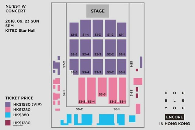 NU'EST W CONCERT <DOUBLE YOU> - ENCORE IN HONG KONG - Seating Plan