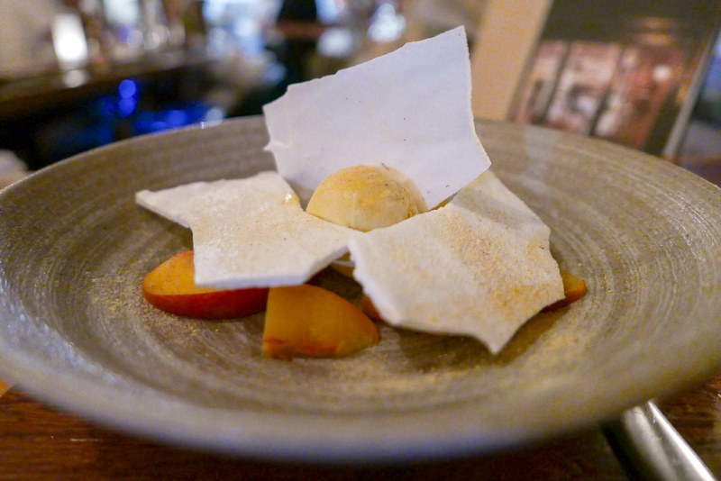 Peach Vacherin, peach ice cream, marinated peaches, Chantilly, meringue