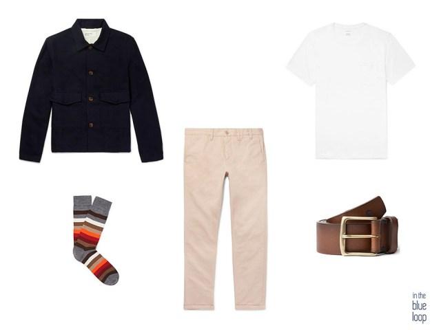 Look casual masculino con cinturón hombre Garoé, chinos, camiseta blanca y chaqueta o overshirt