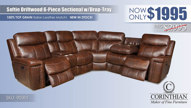 Softie Driftwood 6PC Sectional_90301