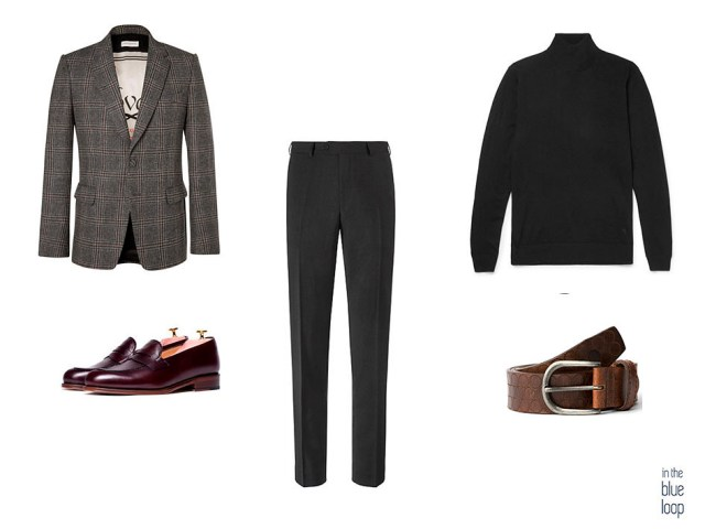 Look smart-casual con blazer de tweed, mocasines marrones, cinturón Nublo de cuero marrón de Blue Hole, pantalones de vestir y sweater de cuello vuelto