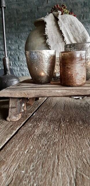 Houten tray waxinelichtjes kandelaar kruik