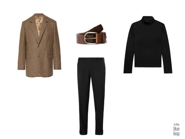 Look smart-casual con blazer de cuadros, pantalón de vestir negro, cinturón nublo de blue hole y jersey de cuello vuelto