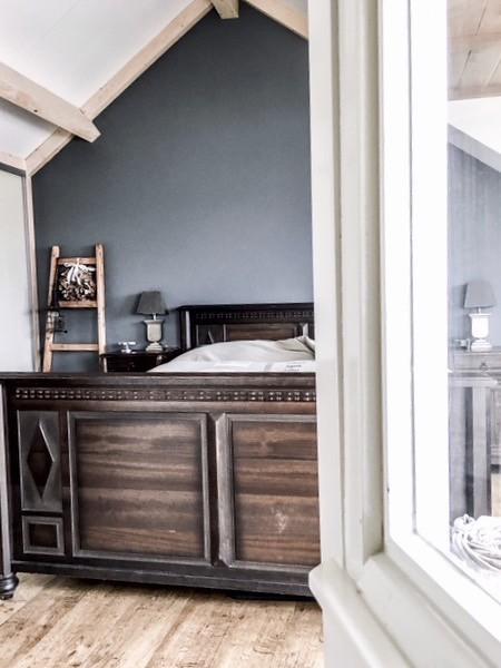 Houten bed decoratieladder toef