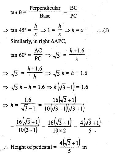 RD Sharma Class 10 Solutions Chapter 12 Heights and Distances Ex 12.1 - 26a