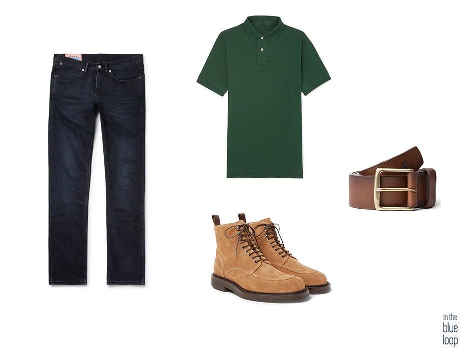 Look casual con botas, cinturón Garoé de blue hole, polo y vaqueros o jeans
