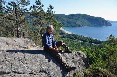 Lake Superior Park Linda at Old Woman Bay on a rock