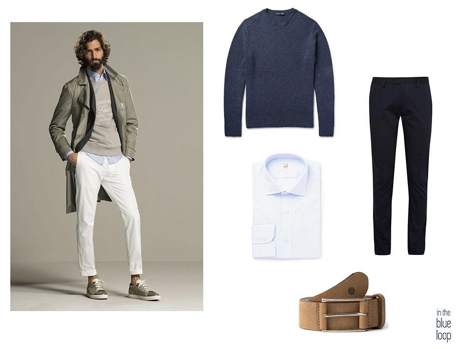 Look smart-casual con chinos azules, cinturón anaga de blue hole, camisa de rayas azules y jersey