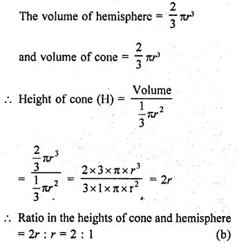 RD Sharma Class 9 Solutions Chapter 21 Surface Areas and Volume of a Sphere MCQS 14