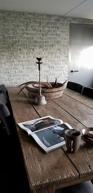Eetkamertafel olijfbak kandelaar woonblad
