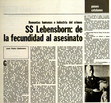 "18i23 SS Lebensborn De la fecundidad al asesinato"" Destino, 27 de noviembre de 1975 Uti 465"