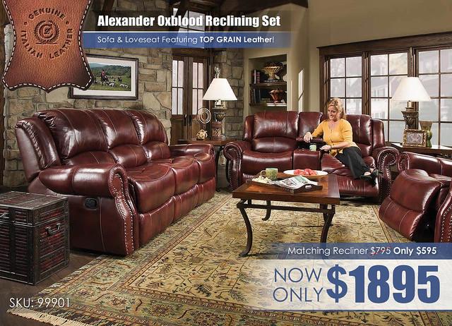 Corinthian Alexander Oxblood Reclining Set_99901_REG