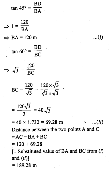 RD Sharma Class 10 Solutions Chapter 12 Heights and Distances Ex 12.1 - 57a