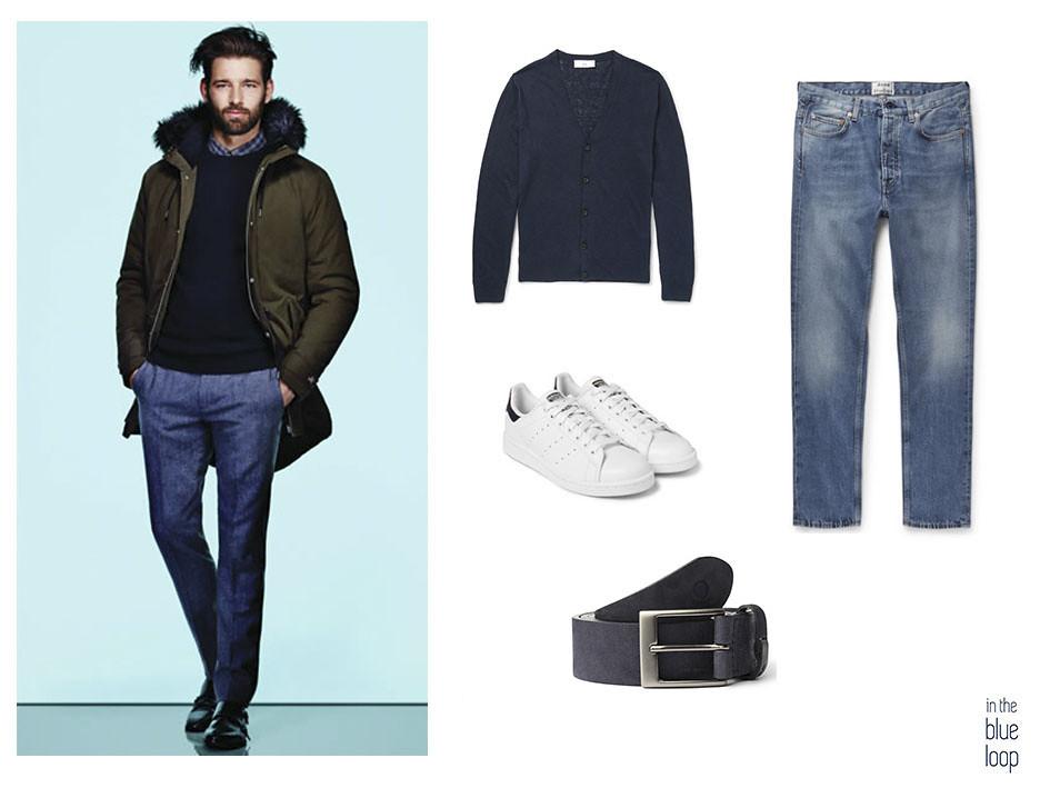 Vaqueros o jeans, con cinturón igara de blue hole, sneakers blancas y cardigan