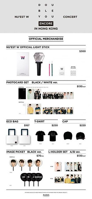 NU'EST W CONCERT <DOUBLE YOU> - ENCORE IN HONG KONG - Merchandise List