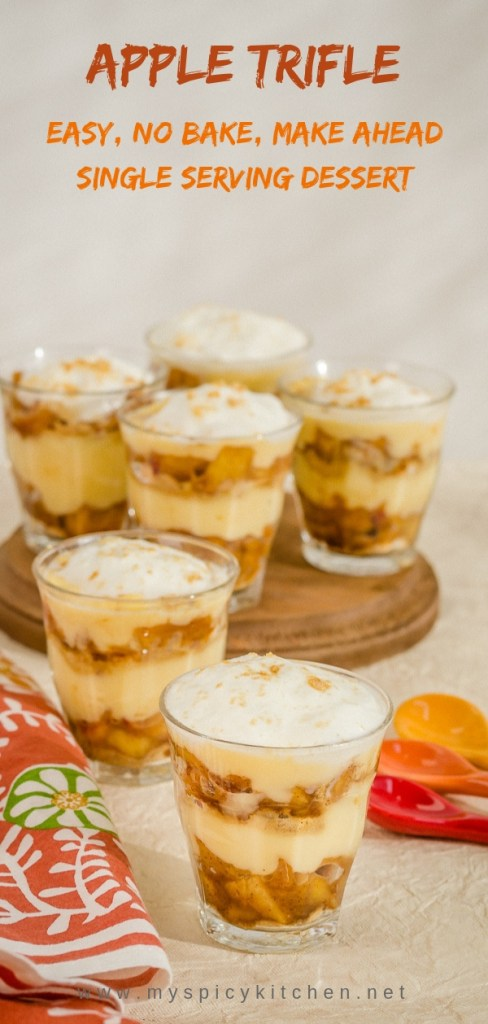 A no bake, easy to make apple trifle is a perfect Autumn dessert for any occasion.