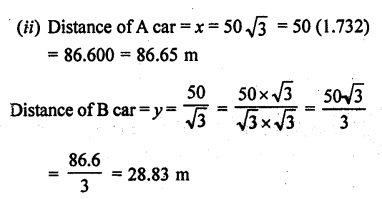 RD Sharma Class 10 Solutions Chapter 12 Heights and Distances Ex 12.1 - 52aa