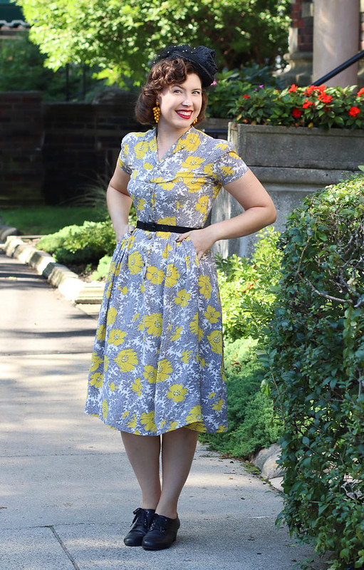 1940s rayon poppy dress with New York Creations hat
