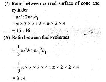 ML Aggarwal Class 10 Solutions for ICSE Maths Chapter 18 Mensuration Chapter Test 15a