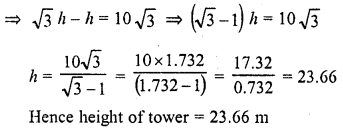 RD Sharma Class 10 Solutions Chapter 12 Heights and Distances Ex 12.1 - 11a