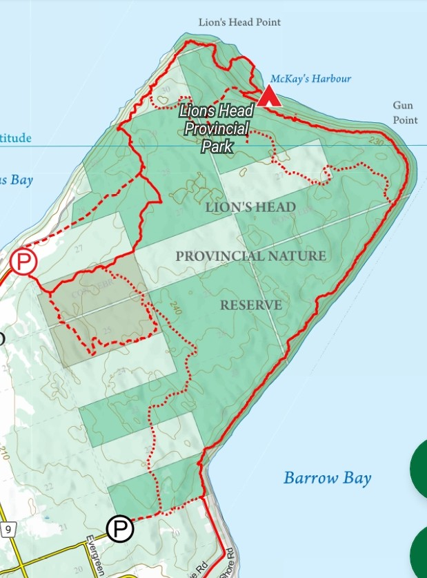 Lions Head PP trail map