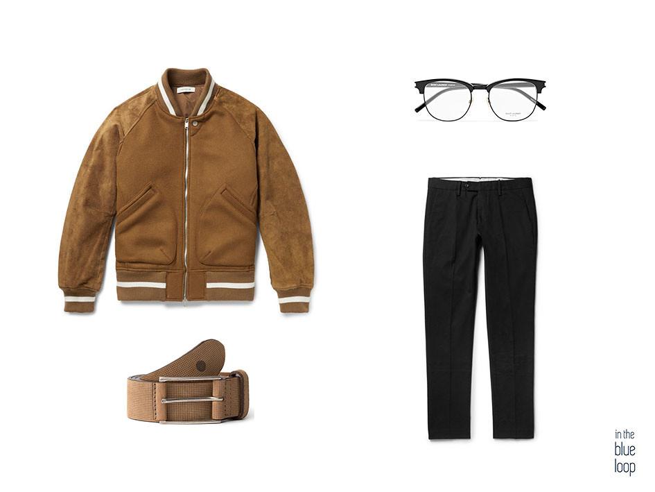 look casual con chinos negros, gafas, cinturón anaga de blue hole y cazadora de ante