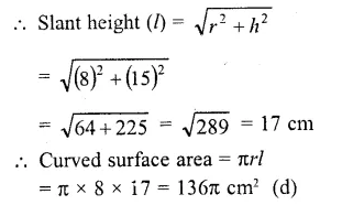 RD Sharma Class 10 Solutions Chapter 14 Surface Areas and Volumes MCQS 16