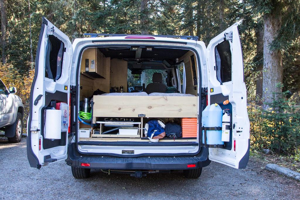 Camper van at a trailhead