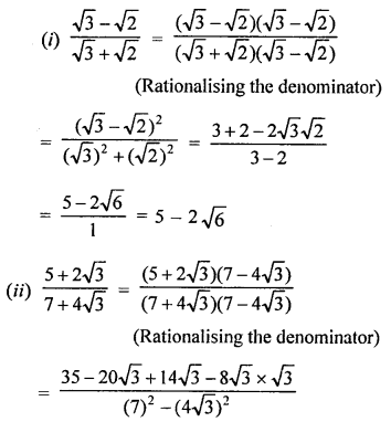 RD Sharma Class 9 Questions Chapter 3 Rationalisation