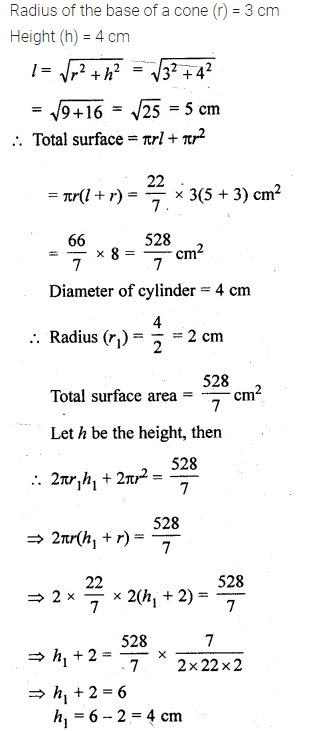 ML Aggarwal Class 10 Solutions for ICSE Maths Chapter 18 Mensuration Chapter Test 15